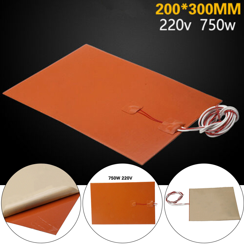 1pc Orange Heater Pad Silica Gel Silicone Rubber Heater Carpet For 3D Printer Heating Bed Accessories 200x300mm 220v 750w