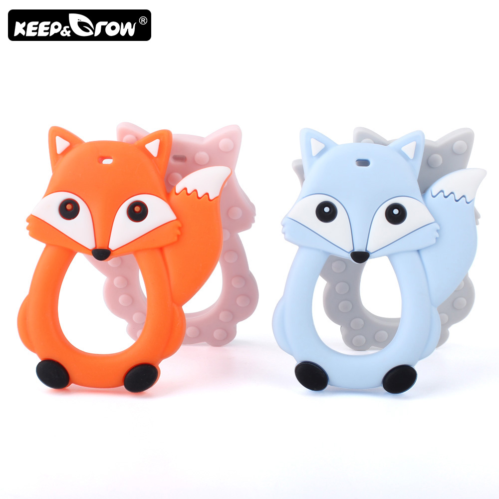 Keep&Grow 10pc Fox Baby Teether BPA Free Rodent Silicone Teethers Teething Necklace DIY Pacifier Clip Silicone Beads Nursing Toy