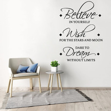 Believe Wish Dream English inspirational wall stickers living room bedroom decoration mural removable stickers home wallpaper 3pcs set 3d removable room decoration wall stickers