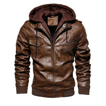 new Men Motorcycle Leather Jackets Winter Casual Hooded Faux Jacket Mens Winter Warm Moto Biker Faux Leather Jacket Coat 2017 men new fashion winter warm leather jacket men hat detachable genuine leather jacket designer motorcycle biker jacket