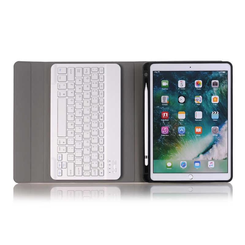 Bàn Phím Bluetooth Ốp Lưng Bao Da Cho iPad 10.2 Inch Nga Tiếng Ả Rập Do Thái Thái Hàn Quốc Tây Ban Nha Pháp Đức Ý Bàn Phím