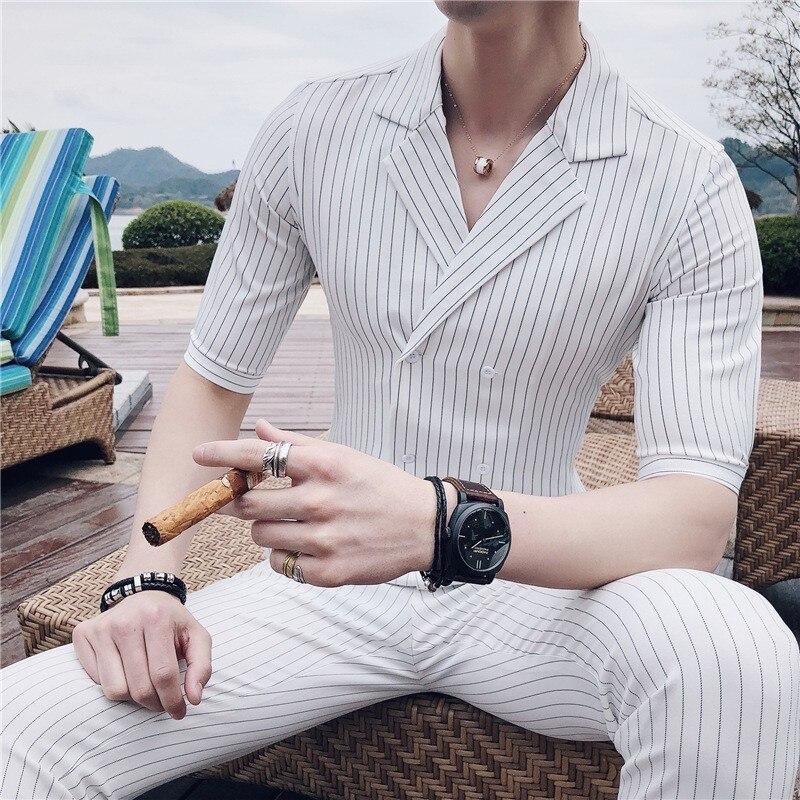 2020 Double Breasted Mariage Suit Summer Costume Wedding Homme Black White Grey Blue Striped Slim Fit Suit Set Trajes De Hombre