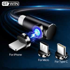 GTWIN Fast Charging Magnetic Cable Micro USB Type C Charger For iPhone XS Max X XR Samsung S10 Magnet Cable Cord Wires Adapter