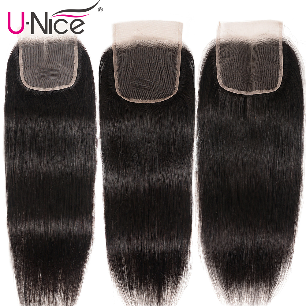 "Image 4 - UNice Hair Brazilian Straight Hair Closure Free &Middle &Three Part Remy Human Hair Lace Closure Swiss Lace 4""x4"" 1 Piece-in Closures from Hair Extensions & Wigs"