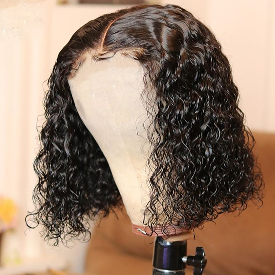 Wig Short Human-Hair Bob Lace-Front Deep-Wave Jerry Curly Pre-Plucked 4x4 Closure 180-Density