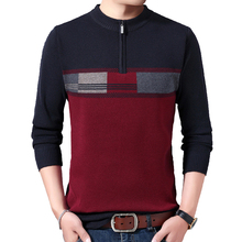 Winter New Men?s Fashion Zipper Color Blocking Thickened Sweater Casual Fit Round Neck Warm Bottoming Mens Sweaters for 2020