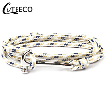 CUTEECO Hammer Bracelets Genuine Handmade Braided Vintage Leather Anchor Men Stainless Steel Punk Jewelr