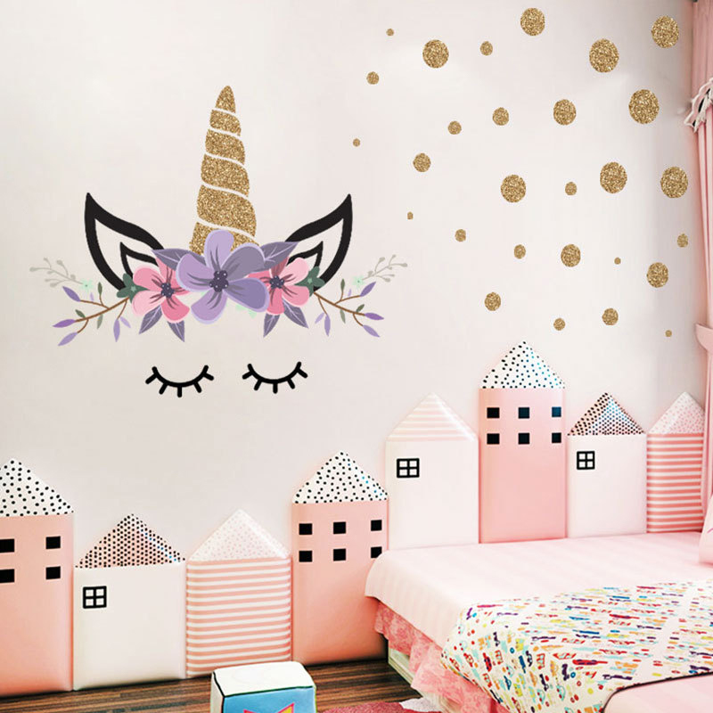 Fowecelt DIY Unicorn Stiker Dinding Kamar Tidur Anak Perempuan Bayi Anak anak Estetika Dekorasi Kamar Wallpaper