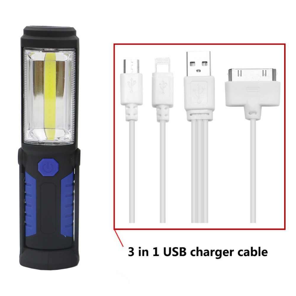 USB แบบชาร์จไฟได้ COB LED ไฟฉาย COB Strip + 1LED ไฟฉายโคมไฟโคมไฟแม่เหล็กกันน้ำไฟ LED ฉุกเฉิน