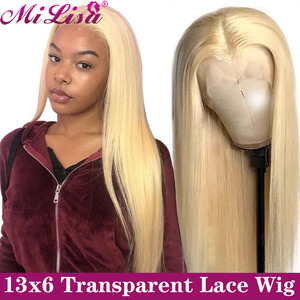 613 Honey Blonde Lace Front Wigs Pre plucked With Baby Hair Straight Lace Front Human Hair Wigs 13x6 Transparent Lace Front Wigs(China)
