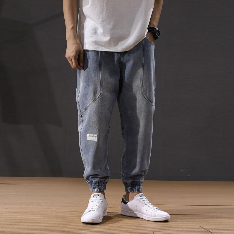 Fashion Streetwear Men Jeans Loose Fit Retro Light Blue Spliced Cargo Pants Harem Jeans Korean Style Hip Hop Jeans Men Joggers