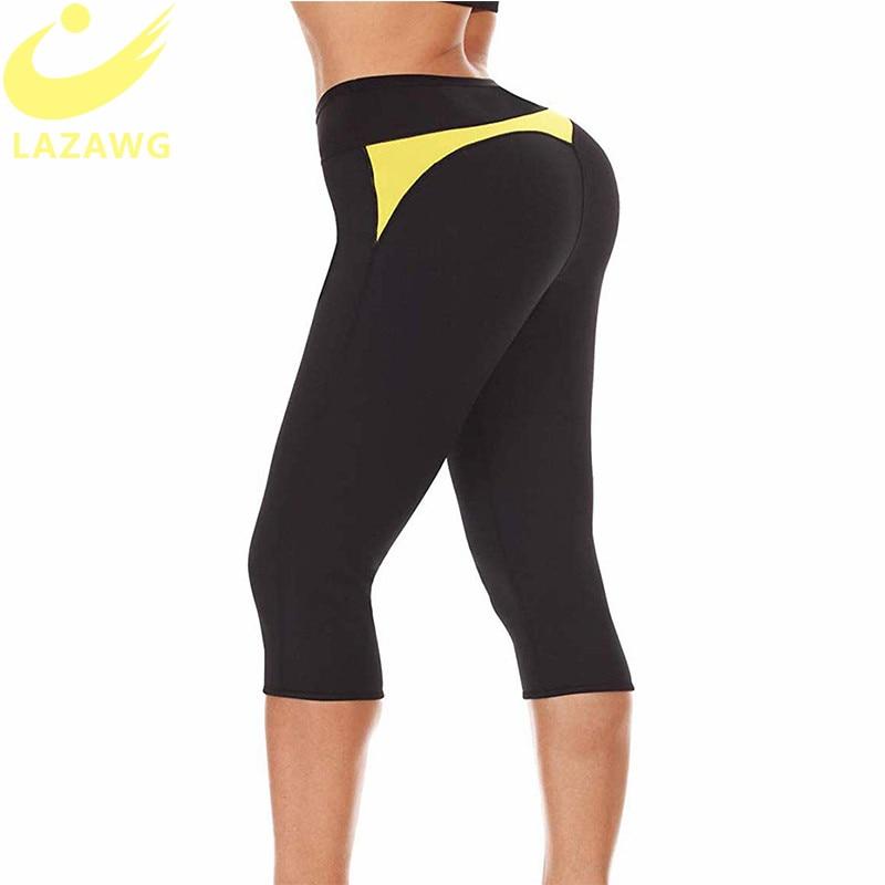 LAZAWG Women Hot Thermo Sweat Sauna Pants Neoprene Legging Shaper for Weight Loss Compression Body Shaper Capri Leggings