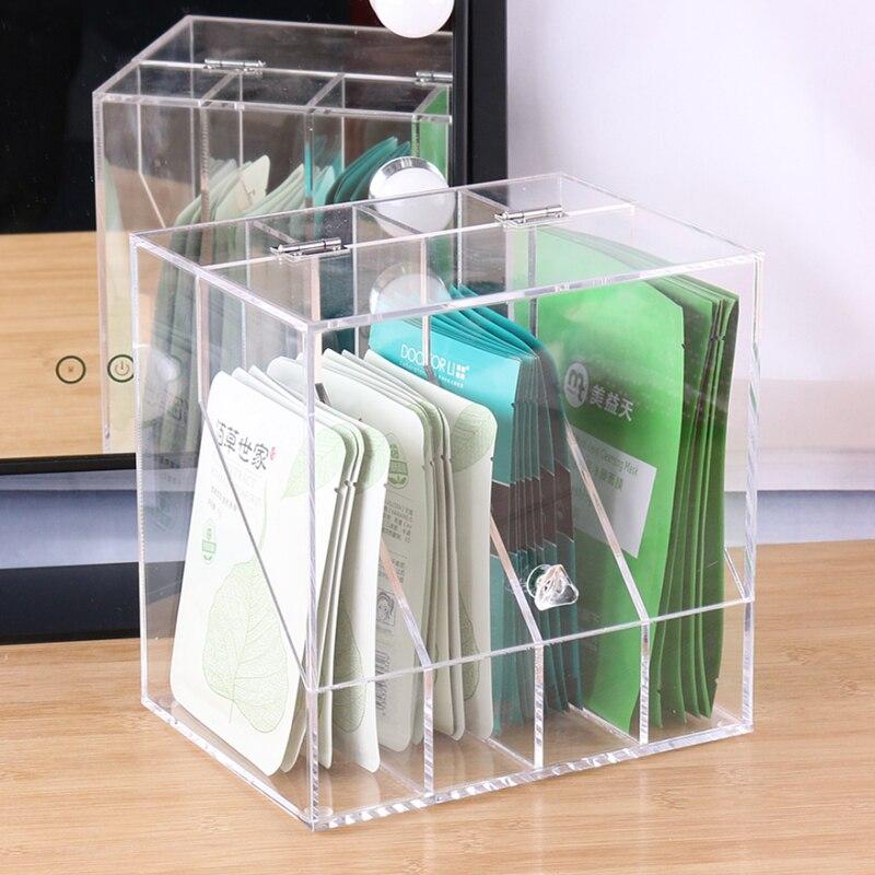 Bureau anti-poussière cosmétique organisateur acrylique flip masque boîte de rangement commode table maquillage finition boîte étagère mx9121428
