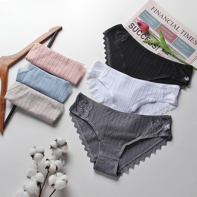 Women Cotton Briefs Sexy Lace Panties Underwear Solid Color Soft Female Intimates Low Waist Breathable Underpants Lady Lingerie