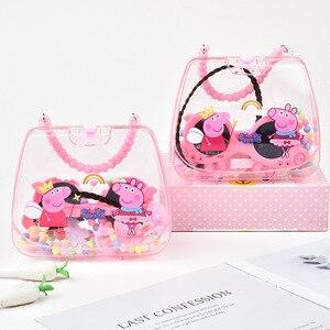 Оригинальные аксессуары для волос Свинка Пеппа, милый ювелирный набор, розовое ожерелье, браслет, очки, сумка, набор, принцесса, девочка, под...