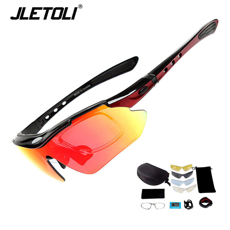 JLETOLI Bicycle <font><b>Glasses</b></font> Polarized Cycling Eyewear Outdoor Fishing Sports Sunglasses <font><b>Bike</b></font> Goggle 99% UV Protection <font><b>5</b></font> <font><b>Lens</b></font> image