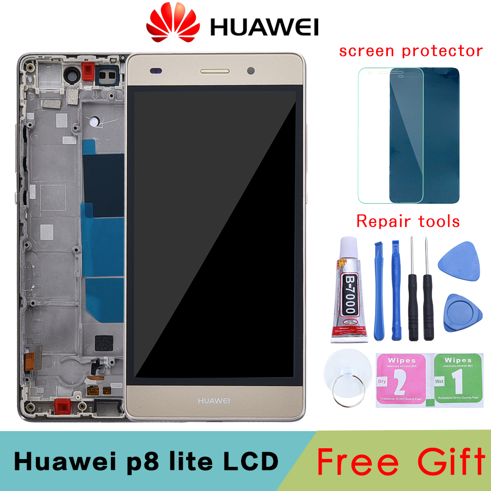 Huawei P8 Lite LCD Display Touch Screen Digitizer Assembly With Frame Replacement ALE-L04 ALE-L21 For 5.0