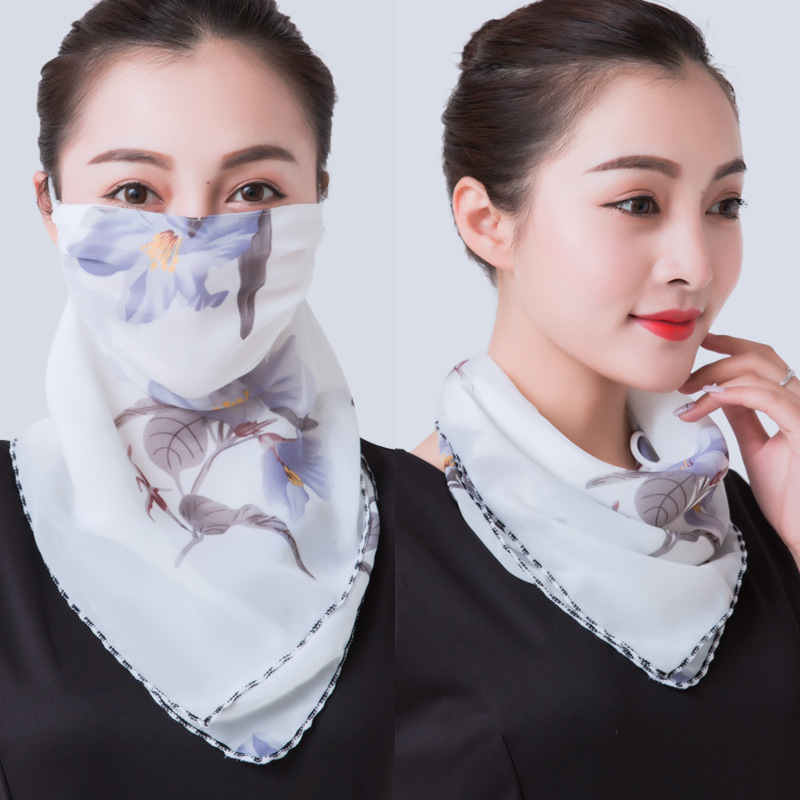 2020 Mouth Mask Scarf Silk Floral Face Mask Bandana Sun Protection Mask Outdoor Riding Masks Protective Silk Scarf Handkerchief