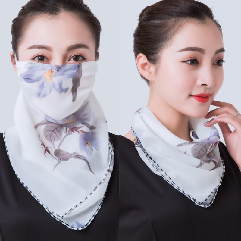 2020 Mouth Mask Scarf Silk Floral Face Mask Bandana Sun Protection Mask Outdoor Riding Masks Protective Silk Scarf Handkerchief