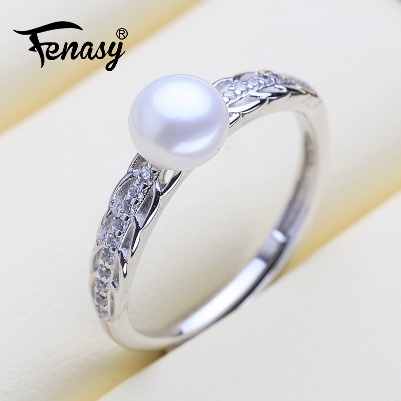 FENASY 925 Sterling Silver Ring Leaf Shape Natural Freshwater Pearl Rings For Women Female Daily Jewelry