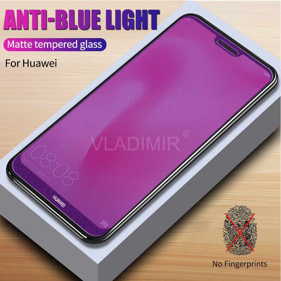 Matte Frosted Anti UV Purple Tempered Glass Screen Protector for Huawei Honor 20 Pro 20i 10i Note 10 9 Lite 8X 7X 7A Play