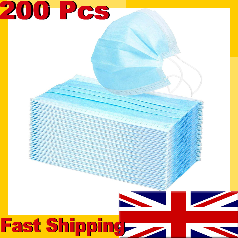 200pcs DHL Fast Shipping to UK! Disposable Face Mask Anti-Dust PM2.5 Non-Woven Earloop Face Mouth Mask Protective Masks