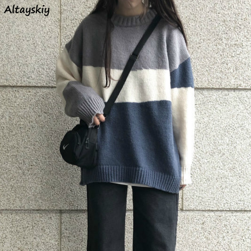 Pullovers Women Oversize Loose Chic Daily Panelled Japanese  Student BF Knitwear Jumper Harajuku Sweater New Casual Girls Soft