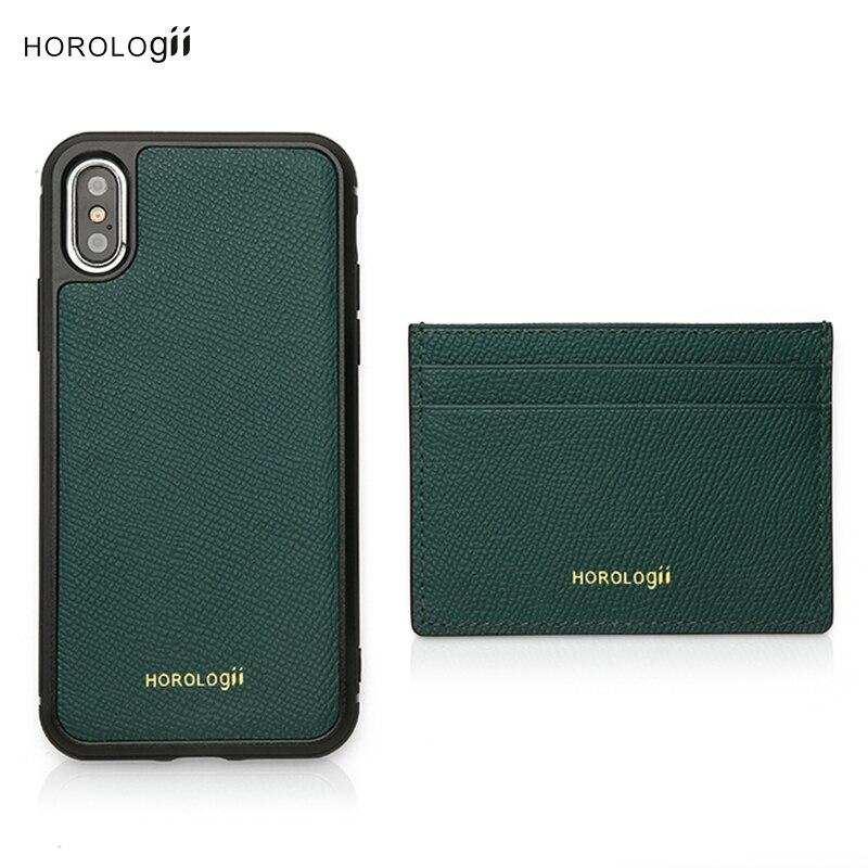 Nom Horologii gratuit pour coque personnalisée pour iphone en cuir vert avec porte-carte ensemble cadeau de noël livraison directe