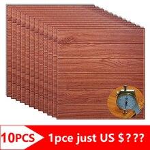 10 stücke 3D Holz Wand Aufkleber Schaum Wasserdicht Platten Selbst adhesive Abdeckt Tapete Wohnzimmer Wohnkultur TV Haus dekoration