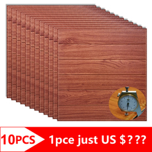 10pcs 3D Wooden Wall Stickers Foam Waterproof Panels Self adhesive Covering Wallpaper Living Room Home Decor TV House Decoration