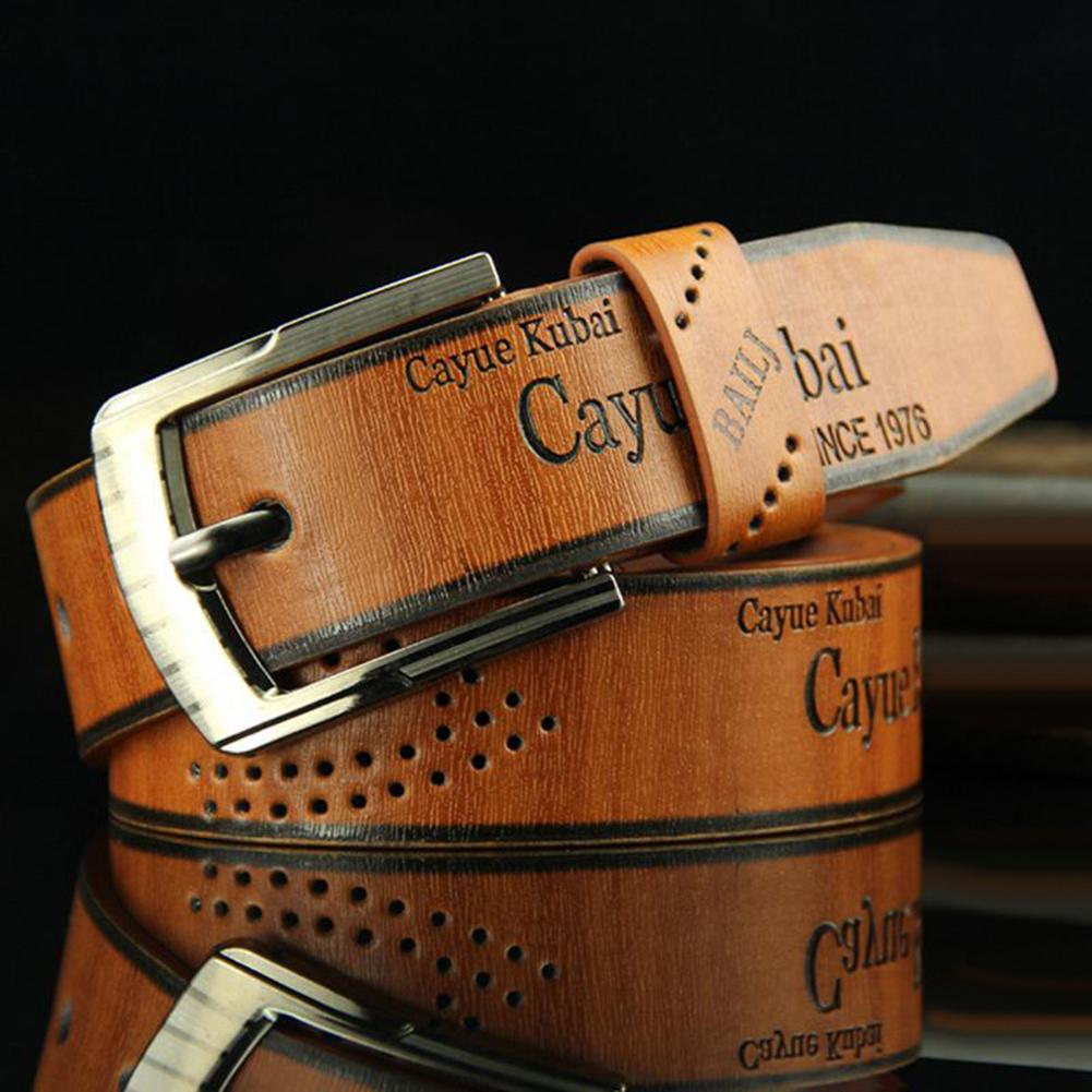 Belt Waist Leather Man Belts Hot Men Casual Faux Leather Hollow Waistband Waist Belt Business Gift
