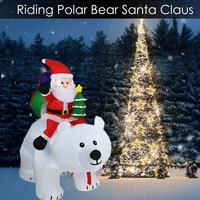 Inflatable Santa Claus Riding Polar Bear LED Light Up Giant Carry Inflatable Doll Gift Bag for Garden Yard Christmas Decoration