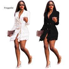 Elegant Women Tassel Design Long Sleeves Coats Double-breasted  V Neck Fashion Office Lady Coats White Black white long sleeves jumper colorful tassel design
