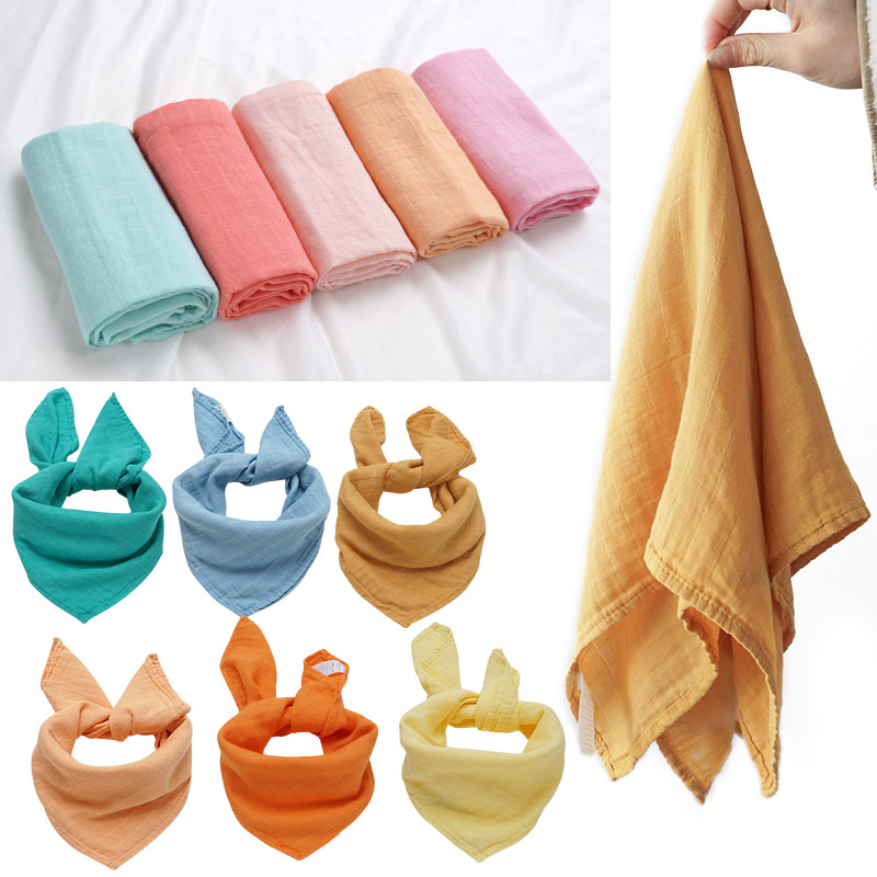 Fashionable Muslin Baby Blankets Newborn Swaddle Wrap Cute Pure 60*60 Feeding Burp Cloth Multi-role Bath Towel Scarf Baby Stuff