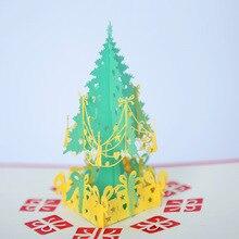 2019 New Year Xmas Card Gift 3D Stereo Greeting Christmas Tree Birthday Blessing Handmade Business 2pcs