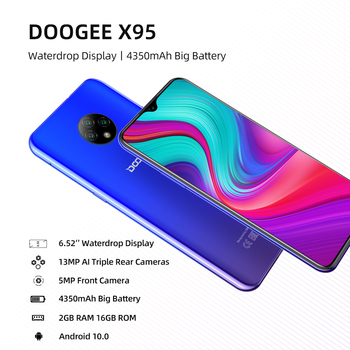 DOOGEE X95 Cellphones 6.52''MTK6737 16GB ROM Dual SIM 13MP Triple Camera 4350mAh SmartPhones Mobile Phone Android 10 OS 4G-LTE 5