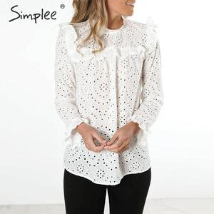 Image 2 - Simplee Women sweet hollow out ruffled shirts See through long sleeve Pleated blouse ladies spring cute white tops blusas 2020