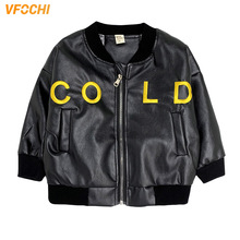 VFOCHI New Boy Girl Leather Jacket Autumn Windproof Kids Children Clothing Unisex Winter Outwear