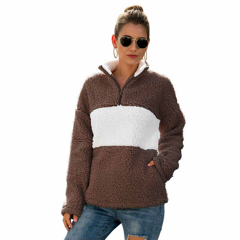 Otoño Invierno 2019 nueva ropa de mujer de lana con cremallera pulóver suéter Casual de moda jersey de felpa