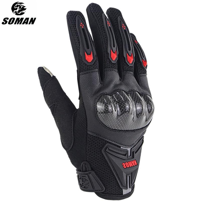 SOMAN gants Moto cuir fibre de carbone Guantes Moto gants hommes femme Moto Luvas Moto Guantes Moto équitation Guante
