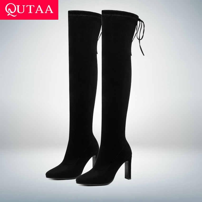 QUTAA 2020 moda kare yüksek topuk diz çizmeler kış kadın ayakkabı Lace Up platformu streç uzun kadın çizmeler boyutu 34-43
