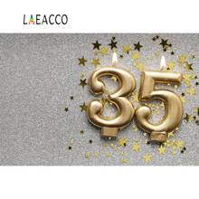 Photo Backgrounds Happy 35th Birthday Party Candle Gold Star Anniversary Poster Portrait Backdrops Photocall Studio
