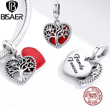 BISAER Tree of Life Charms 925 Sterling Silver Red Enamel Heart Bead Pendant DIY Bracelets Necklace Wedding Jewelry Gift ECC1556