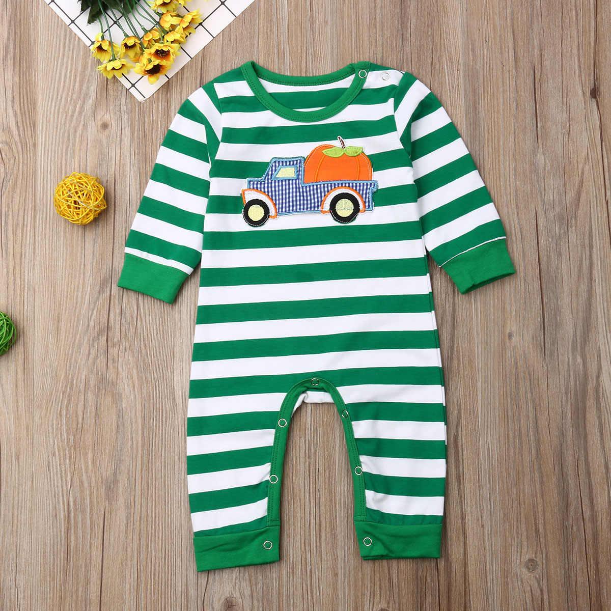 ทารกแรกเกิดเด็กทารกฮาโลวีน Romper ฟักทองพิมพ์ Jumpsuit แขนยาวผ้าฝ้ายเด็กอ่อนเสื้อผ้า 0-24M