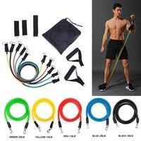 11 pçs/set yoga ginásio estiramento puxar corda tubo de resistência fitness banda treinamento expansor âncora da porta com alça tornozelo