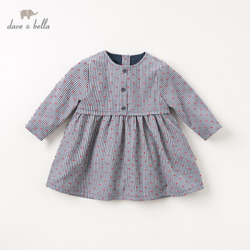 DB11769-2 dave bella autumn baby girl's princess cute plaid dress children fashion party dress kids infant lolita clothes image