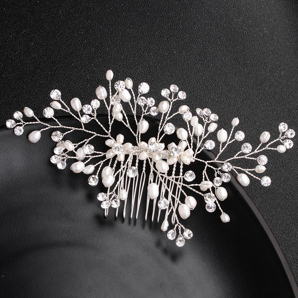Freshwater Pearls Wedding Hair Comb White Handmade Bridal Headdress Jewelry Accessories Headpieces Ornaments FS161
