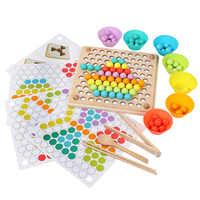 Enfants Montessori jouets en bois mains cerveau formation pince perles baguettes perles jouets début éducatif Puzzle conseil mathématiques jeu jouets