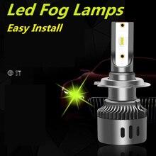 2 adet araba LED far H1 H3 H11 H8 9005 9006 H7 kiti 60W süper parlak Amber yeşil otomatik sis işık lambası 6000k spot far