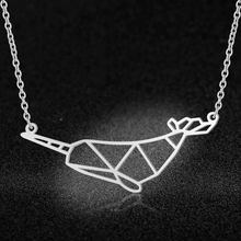 100% Real Stainless Steel Hollow Narwhal Necklace Italy Design Amazing Design Fashion Animal Pendant Necklaces(China)